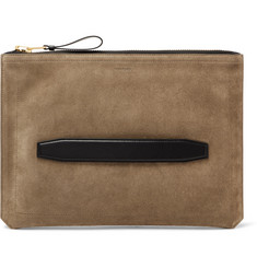 TOM FORD Leather-Trimmed Suede Pouch