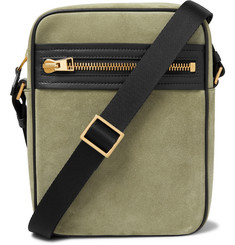TOM FORD Leather-Trimmed Suede Messenger Bag