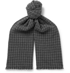Loro Piana Fringed Houndstooth Cashmere Scarf