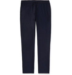 Sease Navy Mindset Tapered Virgin Wool-Flannel Drawstring Trousers