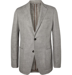 Ermenegildo Zegna Light-Grey Unstructured Mélange Linen, Alpaca and Silk-Blend Blazer