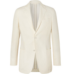 Ermenegildo Zegna - Cream Slim-Fit Unstructured Linen, Cotton and Silk-Blend Canvas Blazer