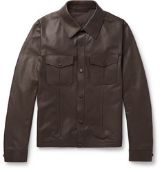Ermenegildo Zegna Slim-Fit Leather Overshirt