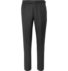 Ermenegildo Zegna Charcoal Tapered Mélange Wool, Silk and Linen-Blend Trousers