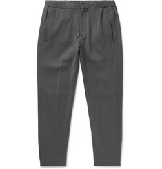 Ermenegildo Zegna Grey Slim-Fit Cotton and Silk-Blend Drawstring Trousers