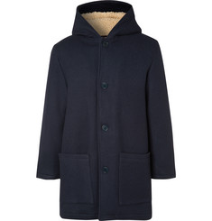 YMC Fleece-Lined Virgin Wool-Blend Hooded Coat