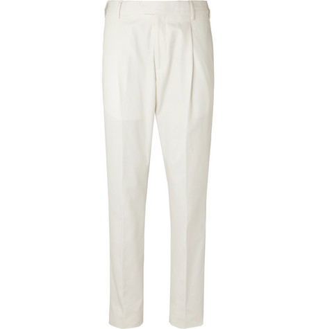 Caruso Tapered Pleated Cotton-Twill Trousers