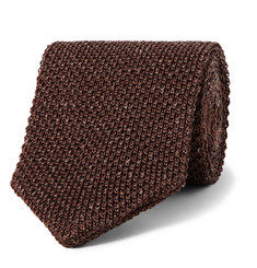 Caruso - 6cm Knitted Silk and Linen-Blend Tie