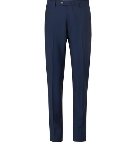 Caruso Navy Aida Slim-Fit Wool and Mohair-Blend Suit Trousers