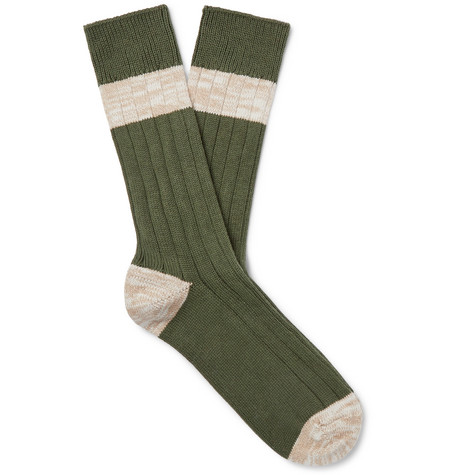 The Workers Club Striped Mélange Cotton-Blend Socks