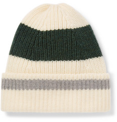 The Workers Club Striped Ribbed Merino Wool Beanie