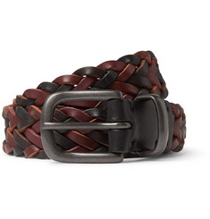 Oliver Spencer 2.5cm Burgundy Woven Leather Belt