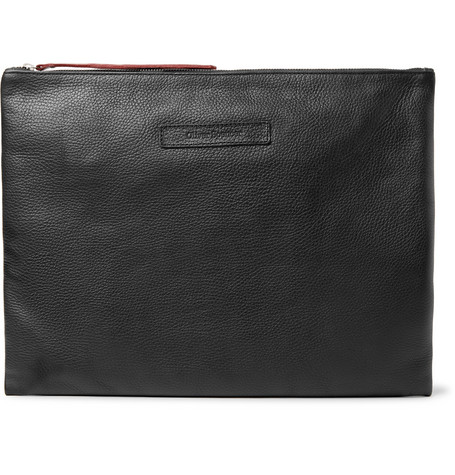 Oliver Spencer Logo-Debossed Textured-Leather Pouch