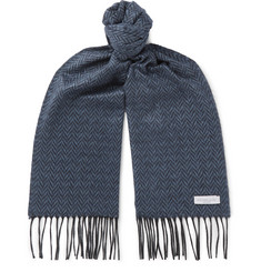 Richard James Fringed Herringbone Silk and Cashmere-Blend Scarf
