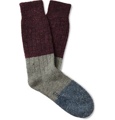 Corgi Colour-Block Ribbed Merino Wool, Silk and Cashmere-Blend Socks