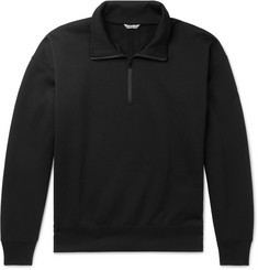 Auralee Fleece-Back Cotton-Blend Jersey Half-Zip Sweater