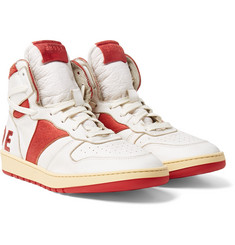 Rhude Rhecess-Hi Logo-Appliquéd Distressed Leather High-Top Sneakers