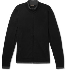 Zimmerli Contrast-Tipped Cotton and Cashmere-Blend Zip-Up Cardigan
