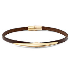Shaun Leane Arc Gold-Plated and Leather Bracelet