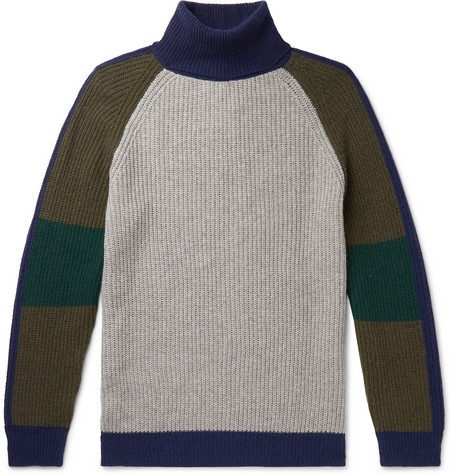 Tempus Now Colour-Block Cashmere and Wool-Blend Rollneck Sweater