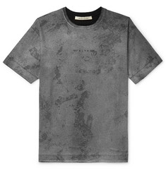 Logo And Camouflage-print Cotton-jersey T-shirt - Gray