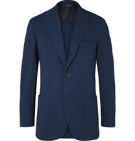 Berg & Berg Navy Dan II Slim-Fit Unstructured Stretch-Cotton Blend Seersucker Suit Jacket