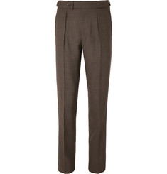 Berg & Berg Tobacco Arnold Slim-Fit Tapered Pleated Wool Suit Trousers