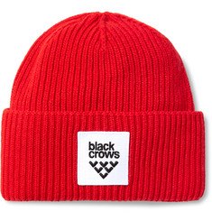 Black Crows Mori Logo-Appliquéd Ribbed-Knit Beanie