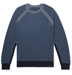 클럽 모나코 Club Monaco Colour-Block Wool-Blend Sweater,Blue