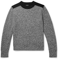 클럽 모나코 Club Monaco Jersey-Panelled Melange Cotton and Wool-Blend Sweater,Black