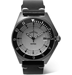 Bamford Watch Department - Mayfair Brushed Stainless Steel and Leather Watch