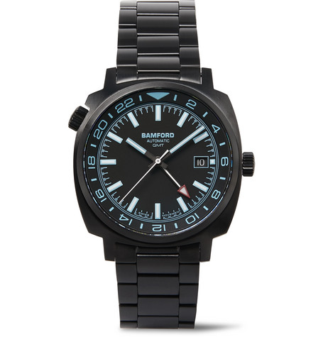 Bamford Watch Department GMT AUTOMATIC 40MM BRUSHED STAINLESS STEEL WATCH - BLACK - ONE SIZ