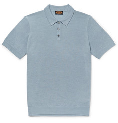 Tod's - Slim-Fit Textured Merino Wool and Silk-Blend Polo Shirt