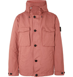 Stone Island Garment-Dyed David-TC Hooded Down Jacket with Detachable Shearling Liner