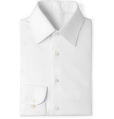Husbands - White Slim-Fit Cotton-Twill Shirt