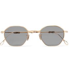 Round-frame Gold-tone Titanium Polarised Sunglasses - Gold