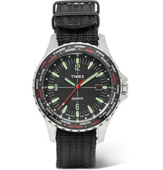 Timex - Navi World Time Stainless Steel and Nylon-Webbing Watch
