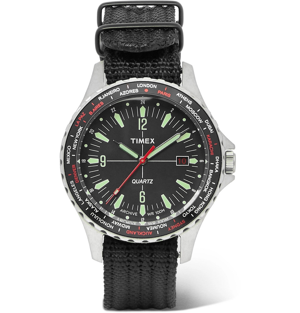 Navi World Time Stainless Steel And Nylon-webbing Watch - Black