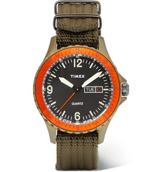 Timex - Navi Land Stainless Steel and Nylon-Webbing Watch