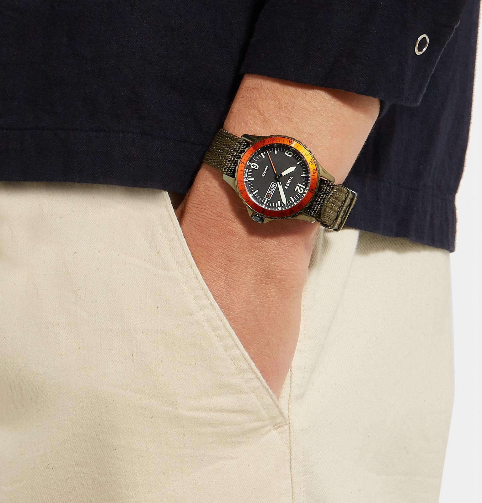 0da4f981abe Timex - Navi Land Stainless Steel and Nylon-Webbing Watch