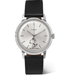 Timex - + Peanuts Marlin Automatic Stainless Steel and Leather Watch