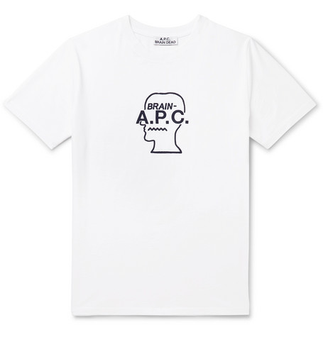A.P.C. + Brain Dead Logo-Embroidered Cotton-Jersey T-Shirt