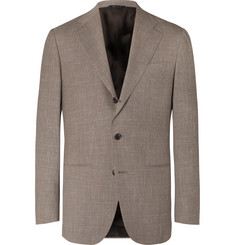 Saman Amel - Taupe Mélange Wool, Silk and Linen-Blend Suit Jacket