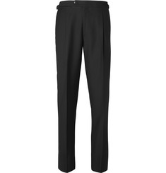 Saman Amel - Black Tapered Wool Tuxedo Trousers