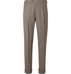 Saman Amel - Taupe Tapered Pleated Mélange Wool, Silk and Linen-Blend Suit Trousers