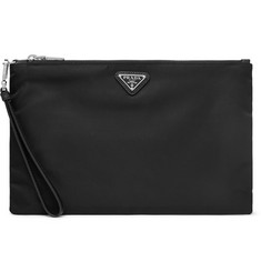 Prada Saffiano-Leather Trimmed Nylon Pouch