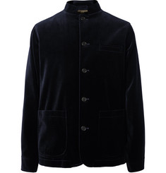 Favourbrook Navy Nehru-Collar Cotton-Velvet Jacket