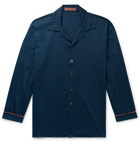 Cleverly Laundry Piped Garment-Dyed Washed-Cotton Pyjama Shirt