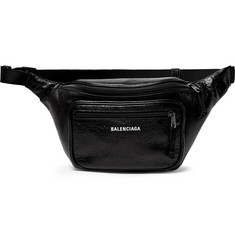 Balenciaga - Explorer Logo-Print Crinkled-Leather Belt Bag
