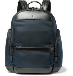 Montblanc Nightflight Leather-Trimmed Canvas Backpack